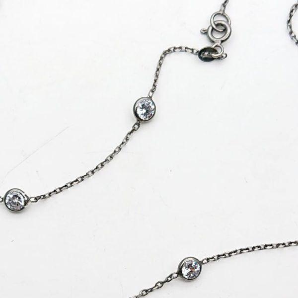 Collana lunga in argento 925 con zirconi rodiata nero