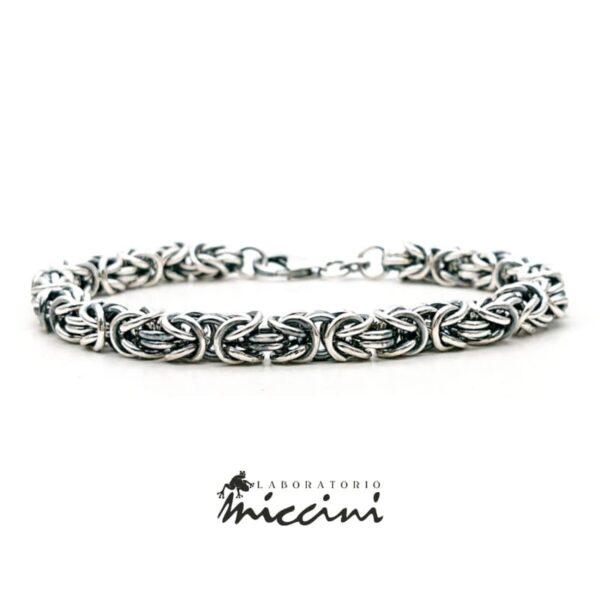 Bracciale in argento maglia bizantina