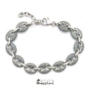 Bracciale maglia marina puntinata in argento