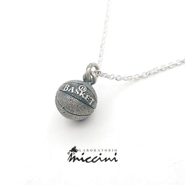 Collana con Palla da basket in argento