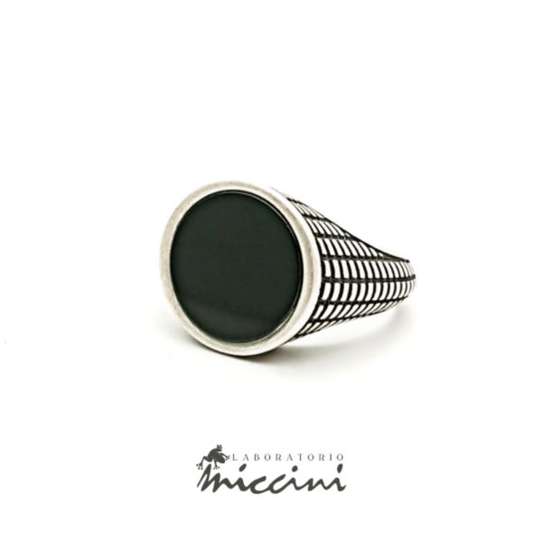 anello con onice in argento 925