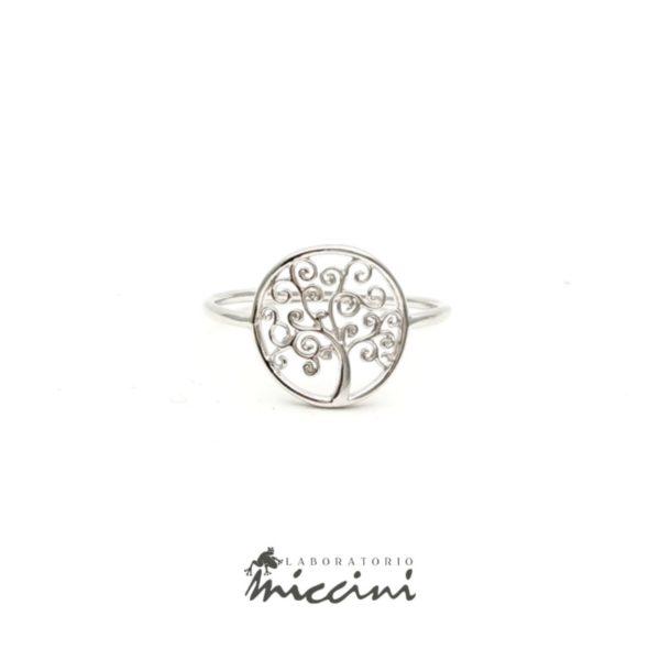 anello albero della vita in oro bianco
