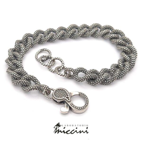 Bracciale grumetta puntinata in argento