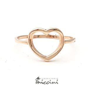 Anello cuore aperto in oro rosa