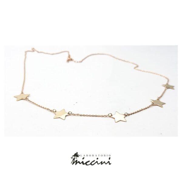 collana in oro rosa con stelle