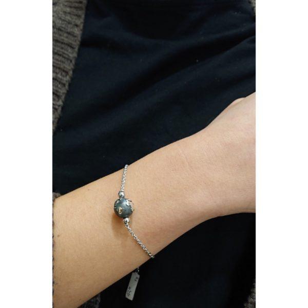 Bracciale Mappamondo con catena in argento