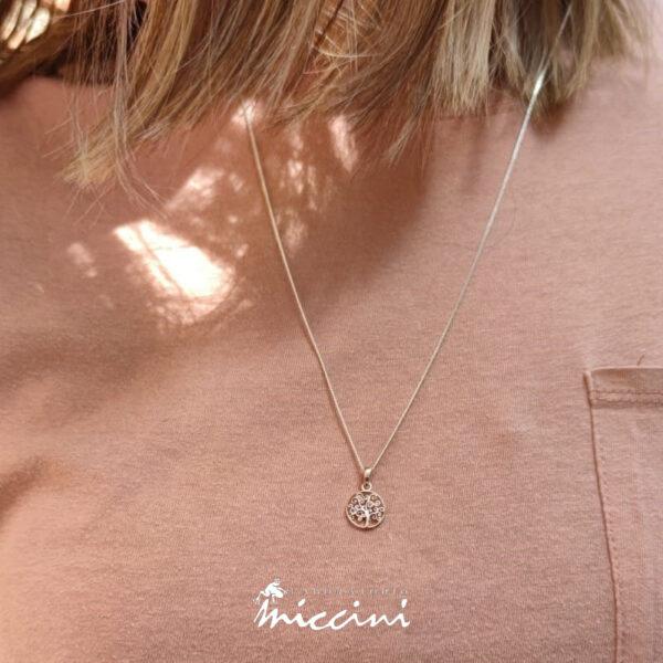collana con ciondolo a forma di albero della vita in oro rosa