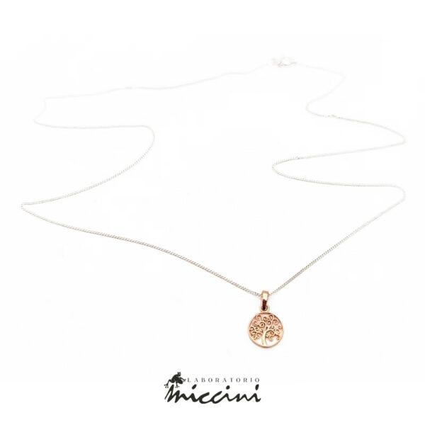 collana in argento con ciondolo albero della vita in oro rosa