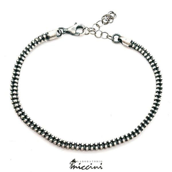Bracciale catena brunita in argento da uomo