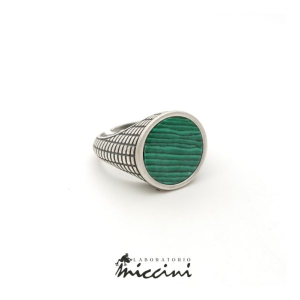 anello malachite in argento 925