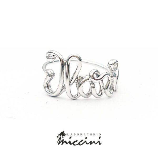 Anello con nome Ilaria in oro bianco con diamante