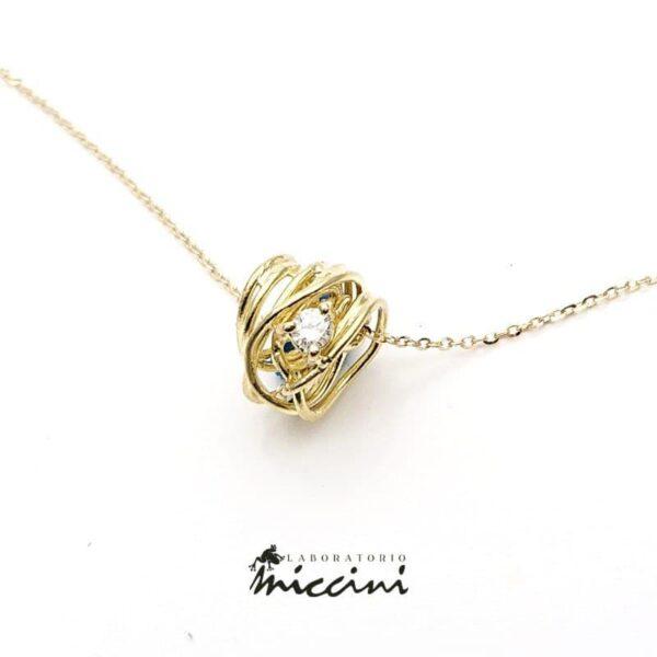 Collana gomitolo oro giallo con diamante