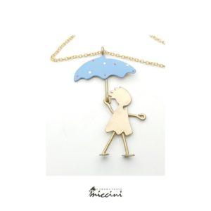 Collana bambina con ombrello blu