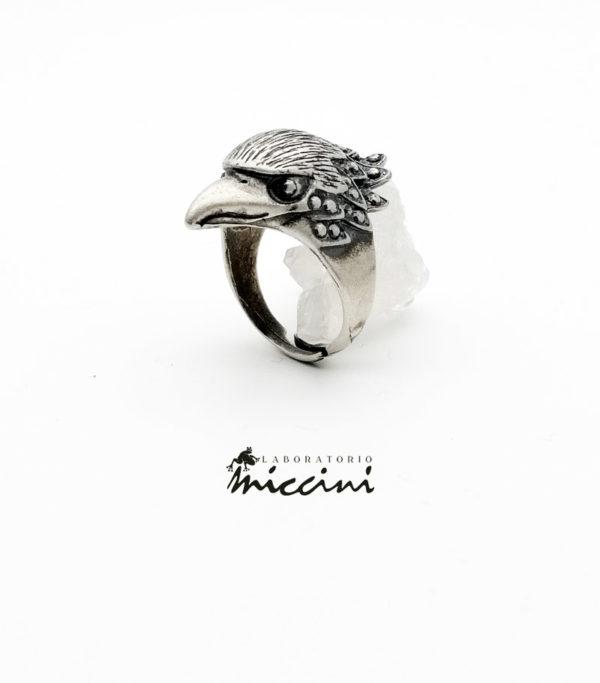 anello aquila in argento brunito