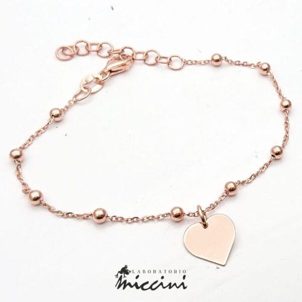 Bracciale con cuore in argento rosa
