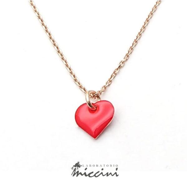 Collana cuore rosso in argento rosato
