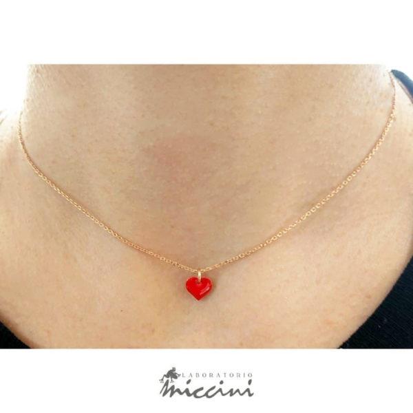 collana cuore rosso in argento