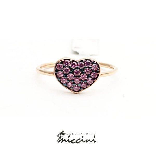 Anello cuore con zirconi rosa in oro rosa