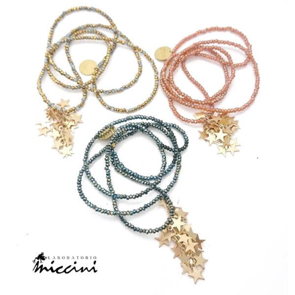 collane con microcristalli rosa, oro e blu ottanio