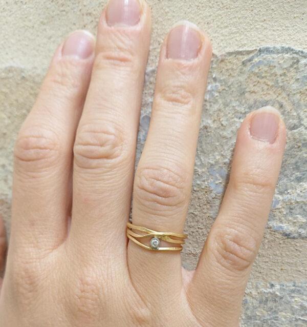 Anello Con Diamante Fatto A Mano In Oro Rosa