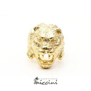 Anello Leone in argento dorato