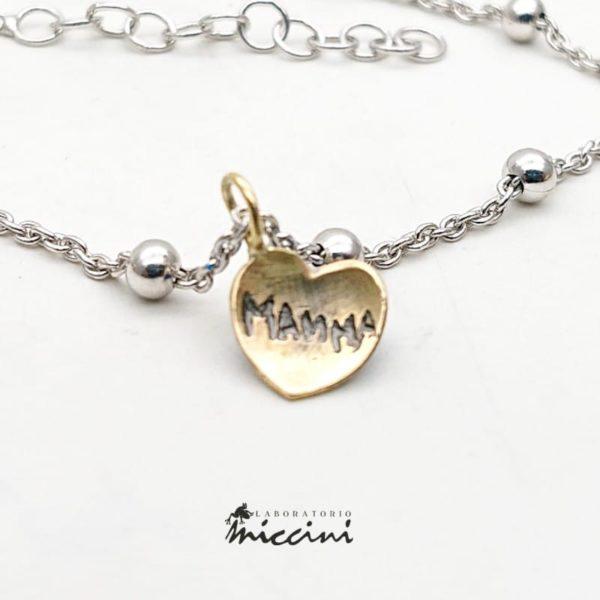 Bracciale con cuore in oro personalizzabile con incisione