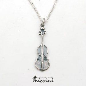Collana con violino in argento