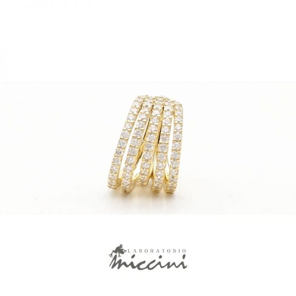 Orecchino Ear cuff in argento dorato con zirconi
