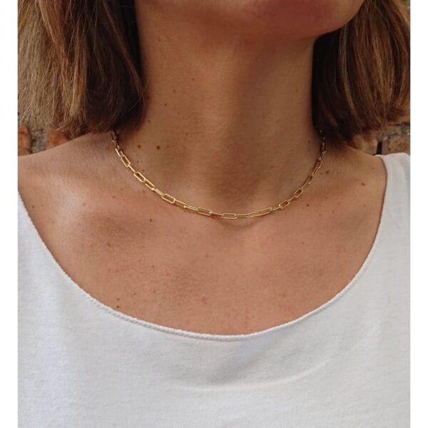 Collana a catena con maglie allungate in Argento dorato INDOSSATA