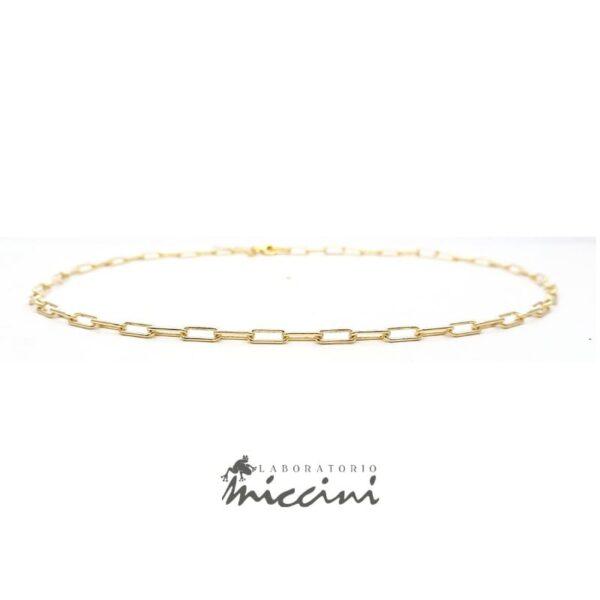 Collana a catena con maglie allungate in argento dorato