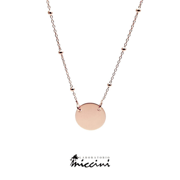 collana con ciondolo rotondo in argento rosato
