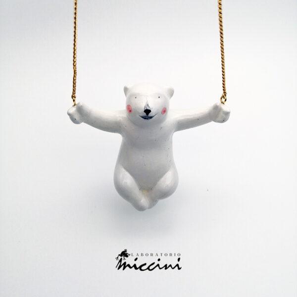 collana con pendente a forma di orso in ceramica