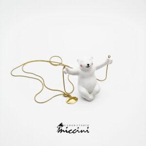 collana con orso bianco in ceramica