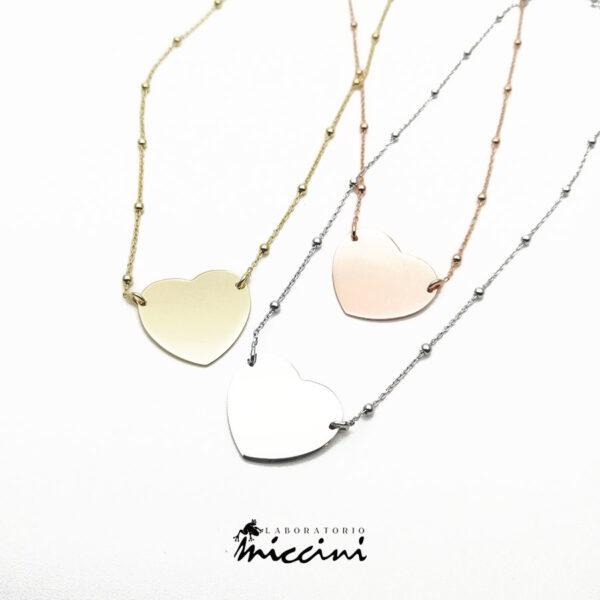collana con pendente a cuore personalizzabile con incisione