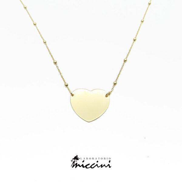 collana con pendente a cuore argento dorato