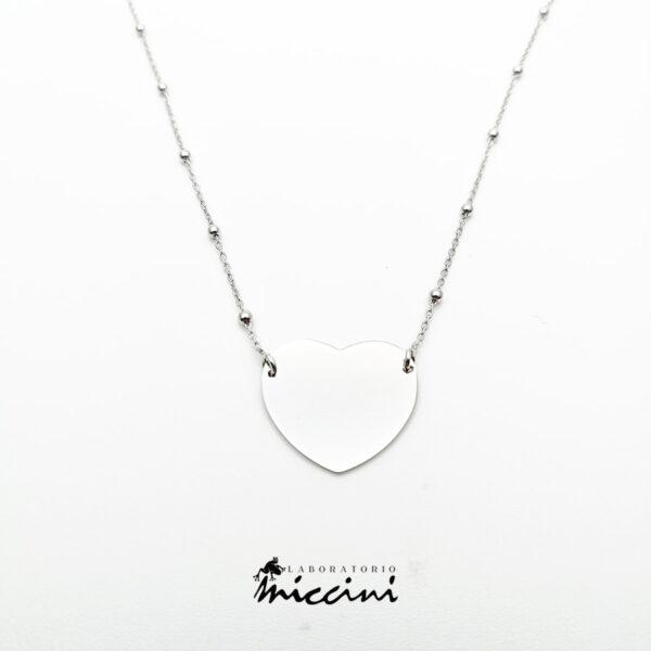 collana con pendente a cuore argento rodiato