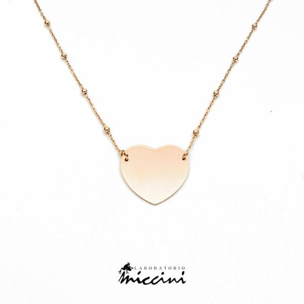 collana con pendente a cuore argento rosato