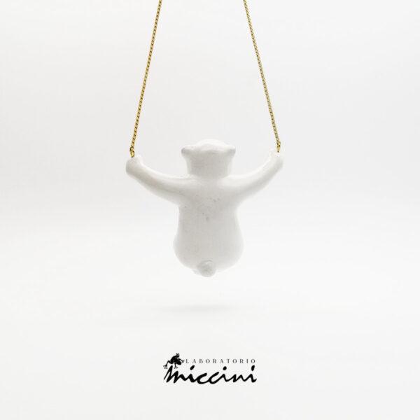 pendente orso bianco in ceramica dipinta