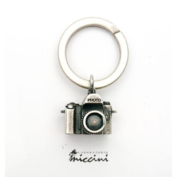 Portachiavi con macchina fotografica in argento