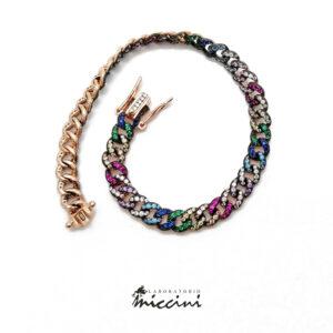 bracciale maglia grumetta con zirconi multicolore