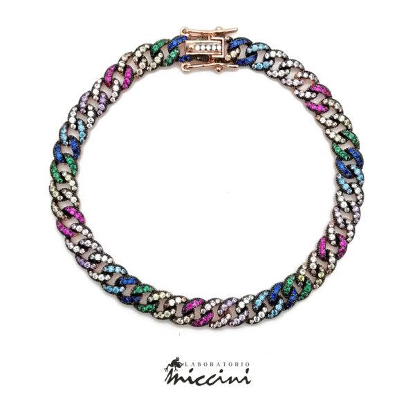 bracciale con zirconi colorati in argento rosato