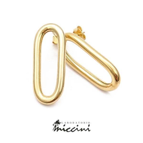 orecchini argento dorato a cerchio allungato