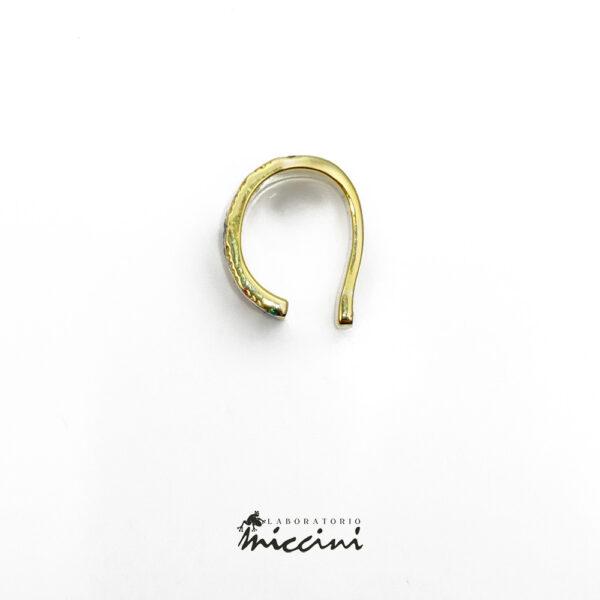ear cuff in argento dorato e zirconi