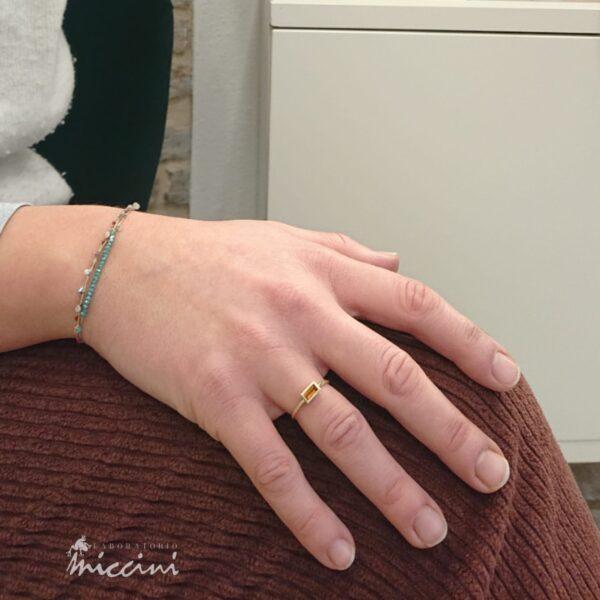 anello con quarzo citrino rettangolare