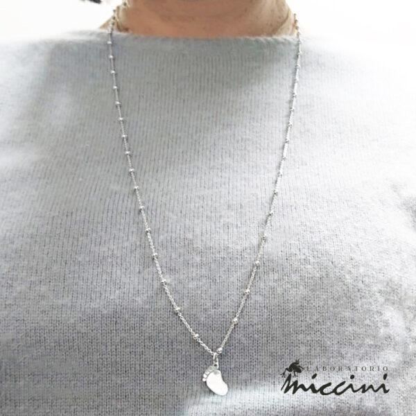 collana in argento con piedino bimbo
