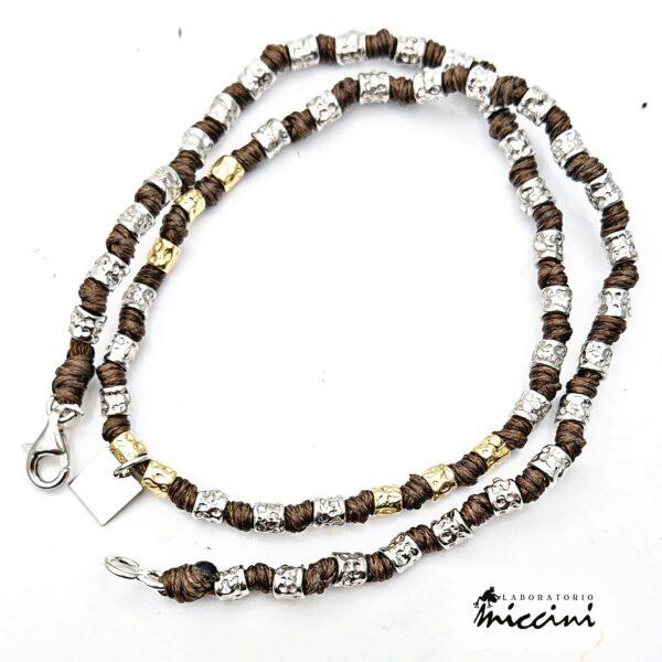 collana con medaglietta personalizzabile e pepite in argento