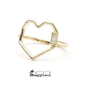 anello con cuore e diamante