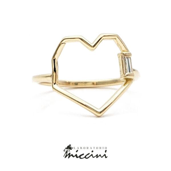 anello minimal in oro giallo a cuore geometrico