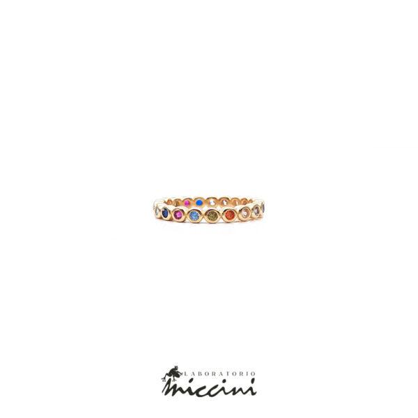 anello in argento dorato con zirconi multicolore