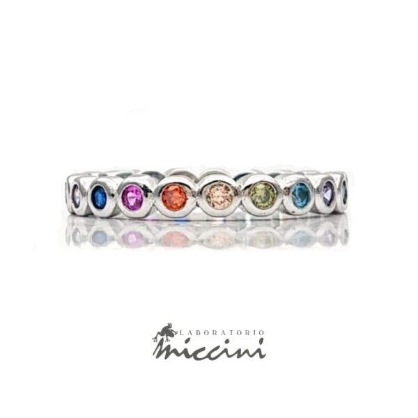 fedina con zirconi multicolore in argento 925